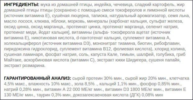 Состав корма Пронатюр Холистик для собак