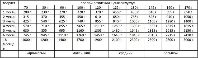вес йорка по возрасту таблица
