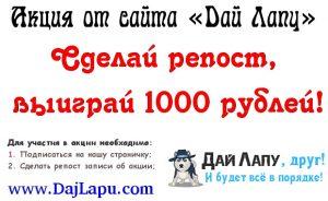 Сделай репост и выиграй 1000 рублей